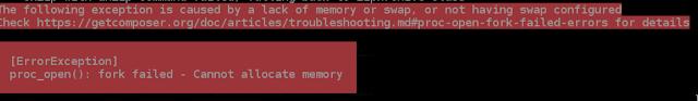 حل مشكلة- PHP Composer update cannot allocate memoryerror-