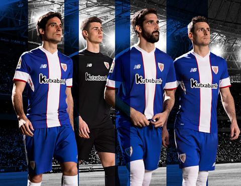 eb5844d0 El nueva camiseta del Athletic de Bilbao 2017 2018 Tercera alterno tiene el  color azul real como predominante y tiene una franja vertical blanca ancha  en el ...