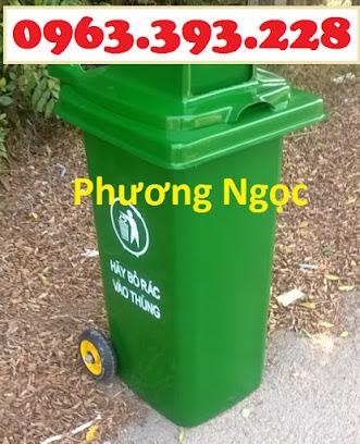Thùng rác nhựa 120 Lít nắp hở, thùng rác công cộng, thùng rác nắp hở nhựa HDPE TRNH120L4