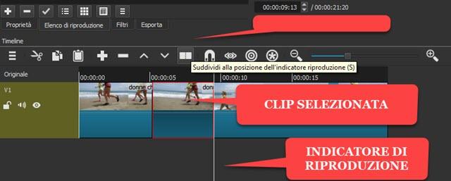 selezione di una clip di un video con shotcut