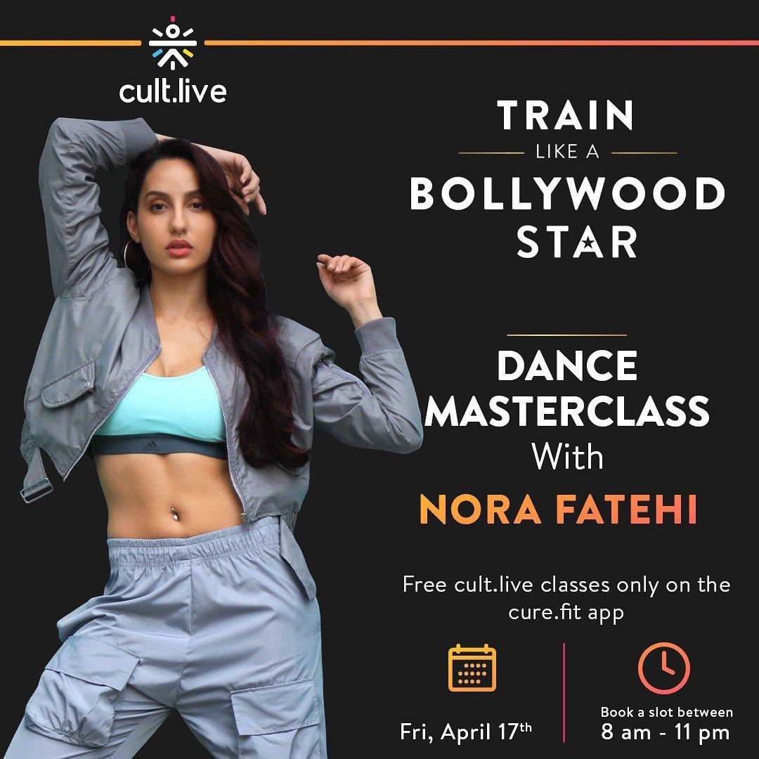 Model Nora Fatehi promotes Fitness App