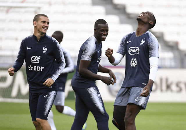 Paul Pogba, Griezmann and Mendy in France training