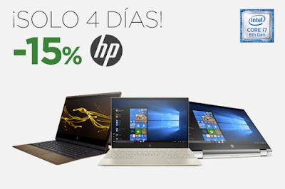 Mejores ofertas ¡Solo 4 días! -15% portátiles HP de El Corte Inglés