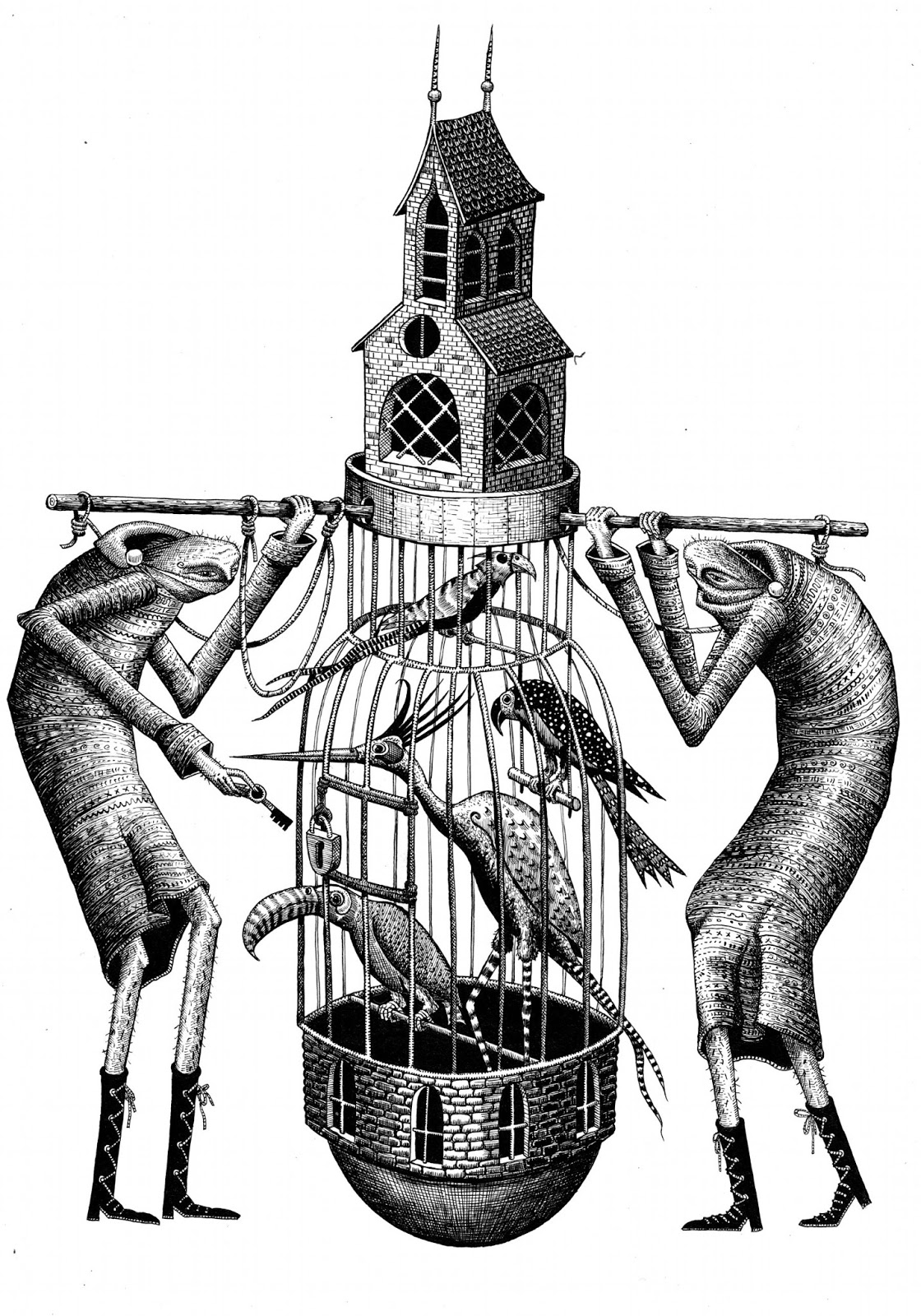 phlegm: Drawings- bird cage and a fish.