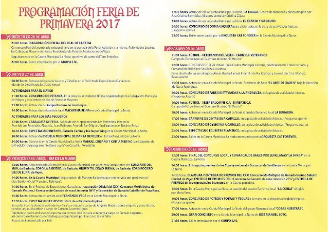 Programación de la Feria de Primavera de Vejer de la Frontera 2017