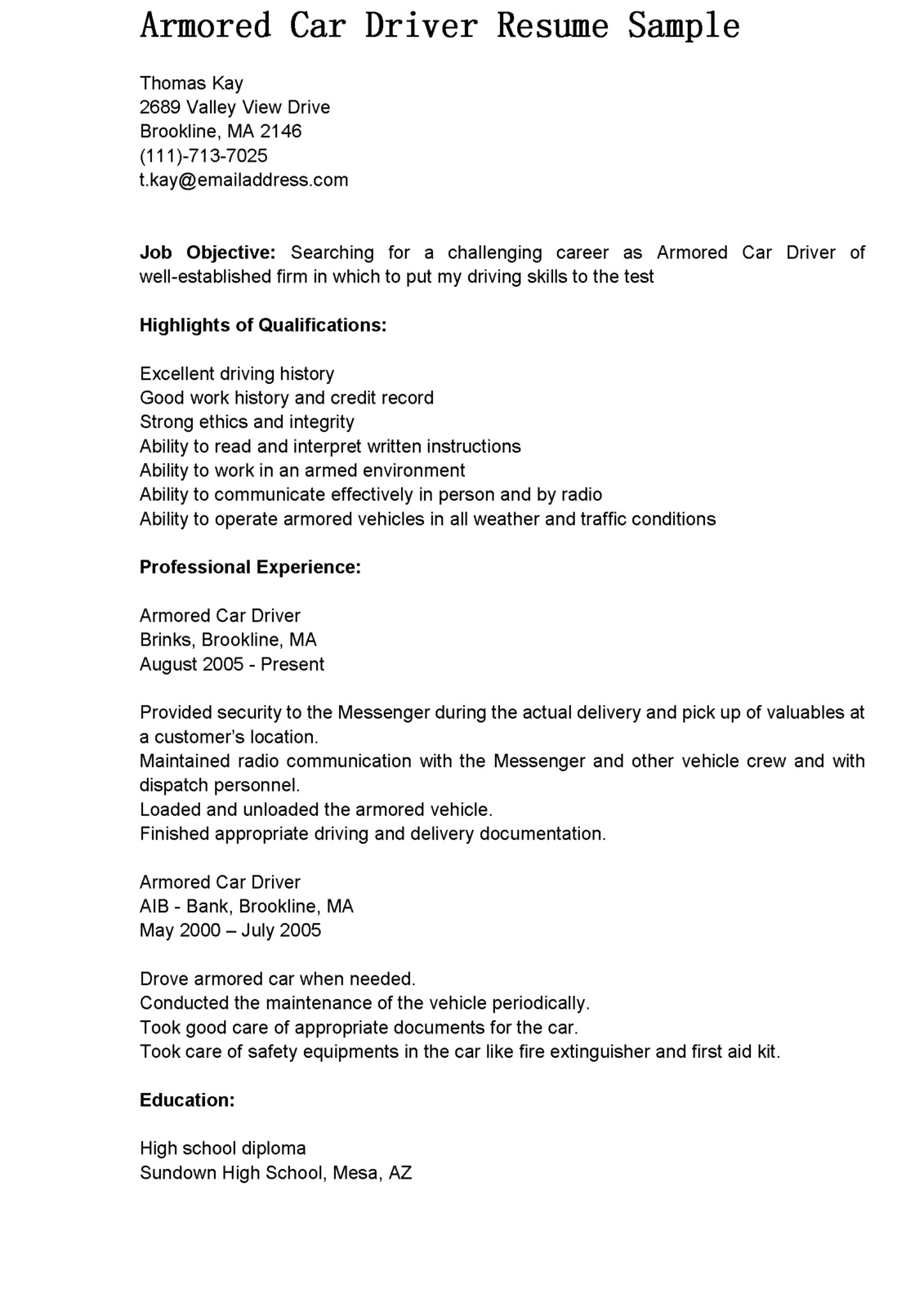 Cover Letter For Bus Driver | Resume CV Cover Letter