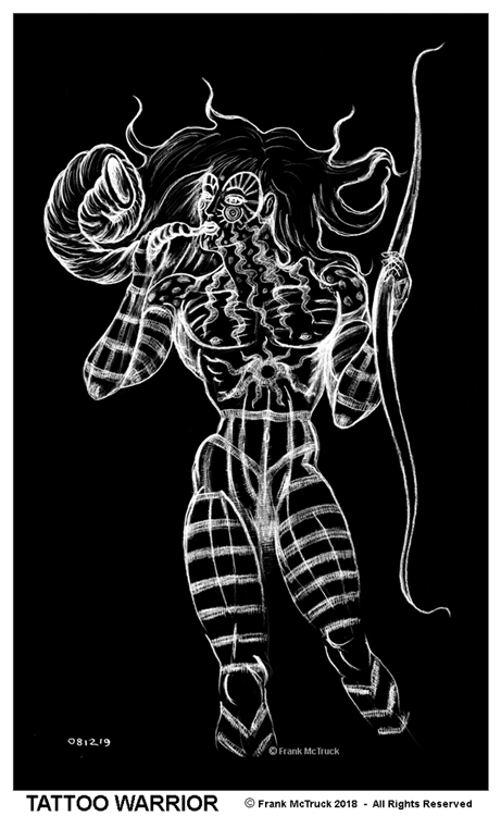 "Frank McTruck white on black drawing - ""Tattoo Warrior"""