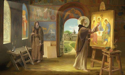The Russian iconographer Saint Andrew Rublev, painting the icon of Holy Trinity, by Natalia Klimova