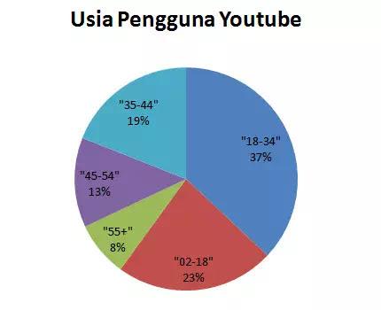 Gambar 1 Distribusi usia basis penampil YouTube.