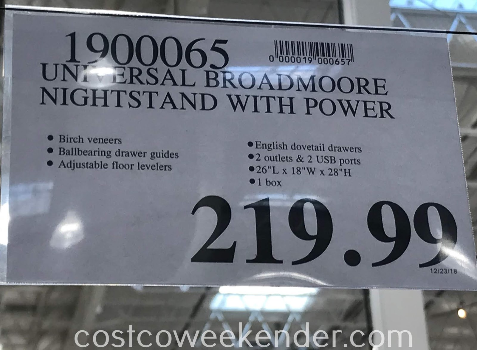 Deal for the Universal Broadmoore Furniture Nightstand with Power at Costco