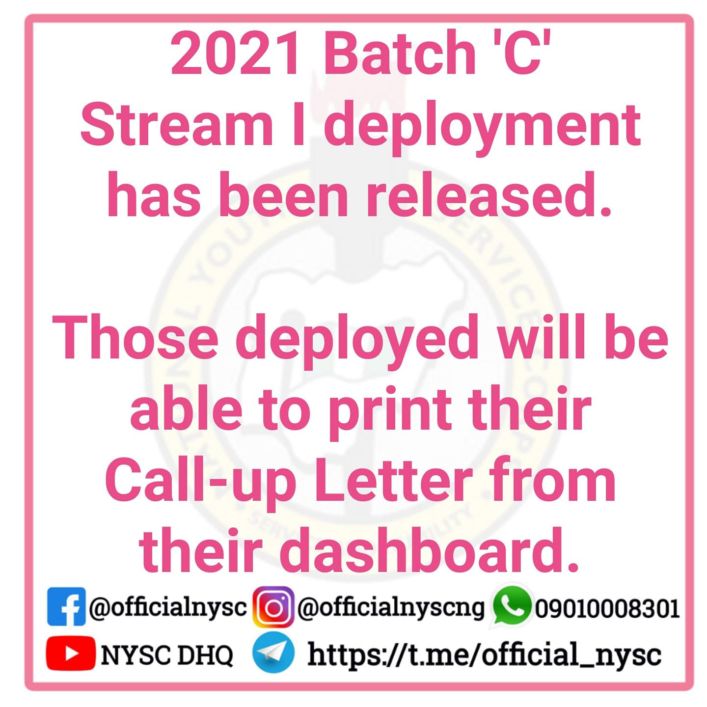NYSC 2021 Batch 'C' Call Up Letter Printing Date & Guidelines