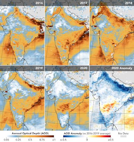 Η NASA αποτυπώνει τη μείωση της ατμοσφαιρικής ρύπανσης στην βόρεια  Ινδία