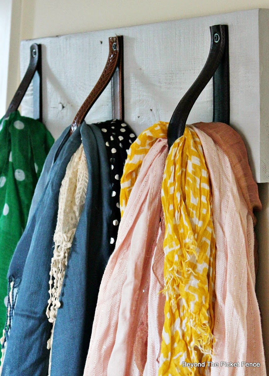scarf hanger, organization, reclaimed wood, leather strap, Beyond The Picket Fence http://bec4-beyondthepicketfence.blogspot.com/2015/02/scarf-hanger-in-30-minutes-or-less.html