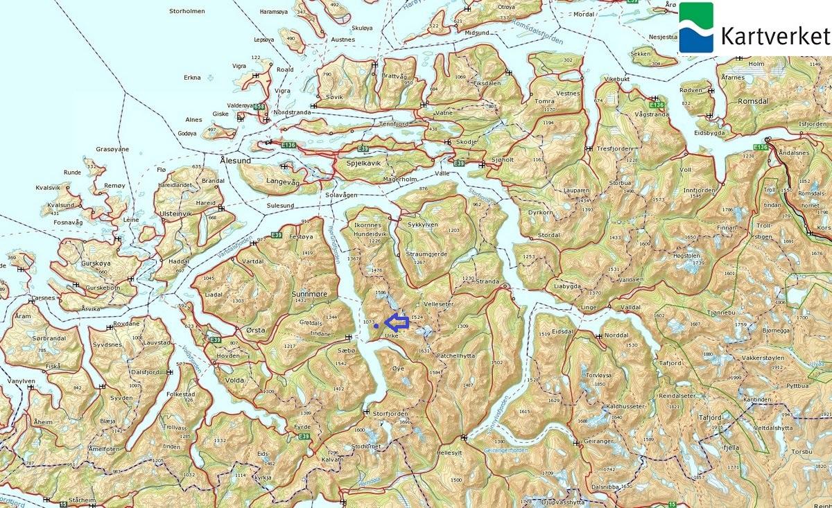 kart over hjørundfjorden Saksa kart over hjørundfjorden