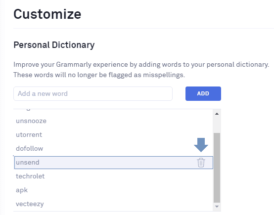 remove word from personal dictionary