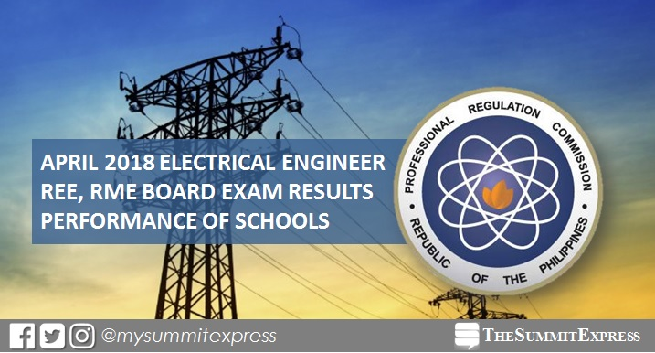 PERFORMANCE OF SCHOOLS: April 2018 Electrical Engineer REE, RME board exam results
