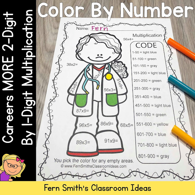OR...Click Here to Grab This Smaller Resource, Color By Numbers Careers MORE 2-Digit by 1-Digit Multiplication