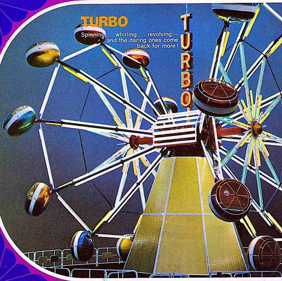 """a 1972 amusement ride """"Turbo"""", a color photograph"""