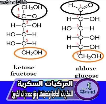 المركبات السكرية | السكريات الأحادية وتصنيفها وفق ذرات الكربون