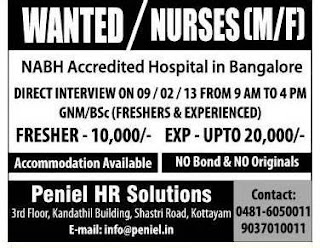 vacancy for staff nurse in bangalore dating