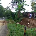 Breaking News: Diduga Alami Rem Blong, Sebuah Truk Tabrak Tebing di Tikungan Selumut Pakis Hingga Terguling di Tegalan