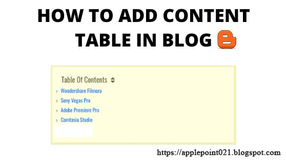 How To Add Table of Content in Blogger Post