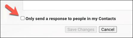 """اضغط على مربع الاختيار """"إرسال رد فقط إلى الأشخاص الموجودين في جهات الاتصال الخاصة بي"""" للحد من عدد الرسائل التي يتم إرسالها."""