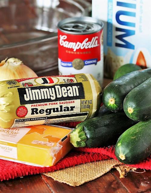 Cheesy Zucchini & Sausage Casserole Ingredients Image