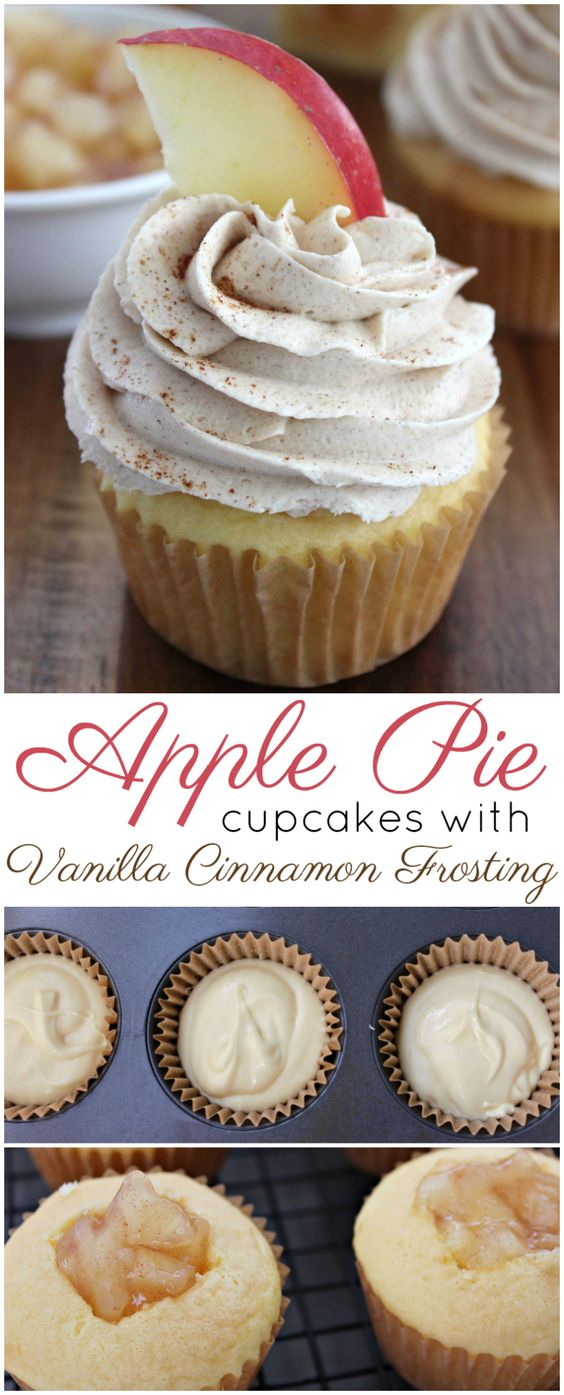 APPLE PIE CUPCAKES WITH VANILLA CINNAMON FROSTING #recipes #baking #bakingrecipes #food #foodporn #healthy #yummy #instafood #foodie #delicious #dinner #breakfast #dessert #lunch #vegan #cake #eatclean #homemade #diet #healthyfood #cleaneating #foodstagram
