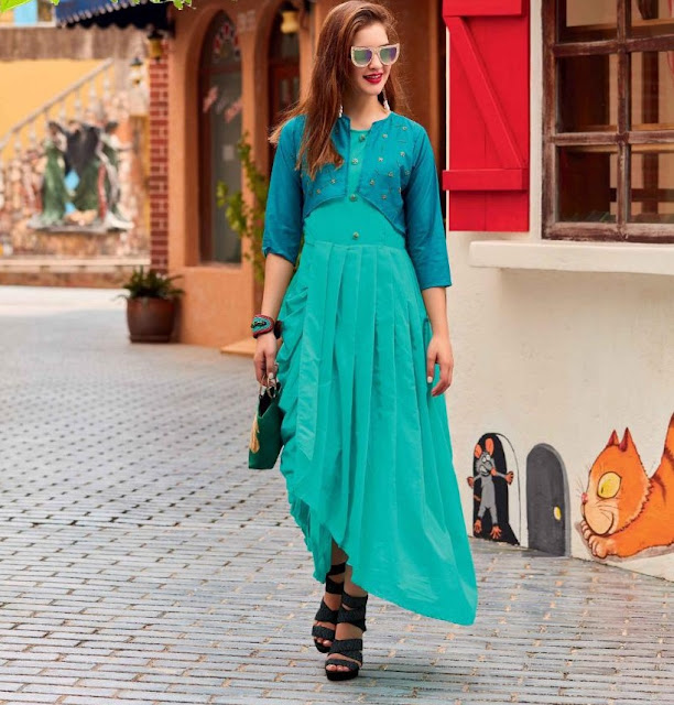 Ice Blue Art Silk Western kurtis Manufacture in Surat