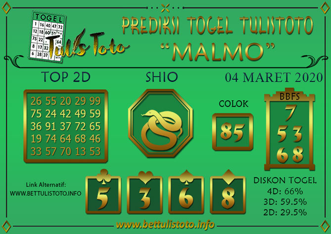 Prediksi Togel MALMO TULISTOTO 04 MARET 2020