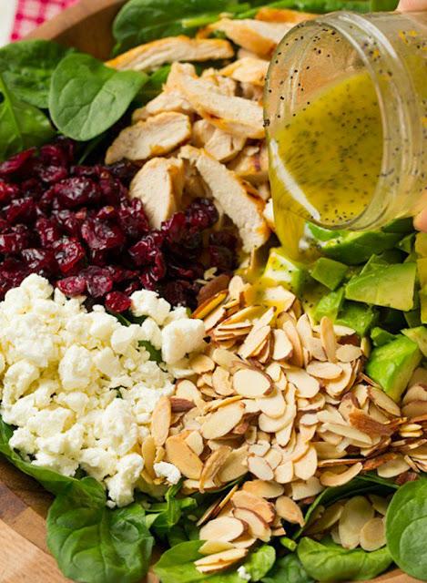 Recette Salade de poulet, avocat, épinard et canneberge