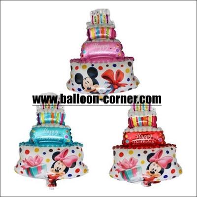 Balon Foil Happy Birthday Cake Mini Motif Mickey & Minnie Mouse (2 in 1)