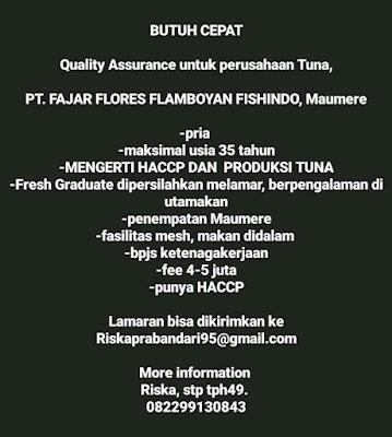 Lowongan Kerja PT Fajar Flores Flamboyan Fishindo Sebagai Quality Assurance