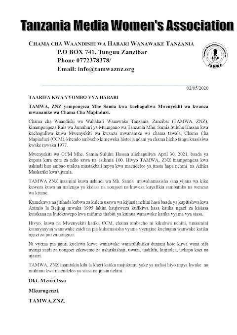 TAMWA, ZNZ yampongeza Mhe Samia kwa kuandika historia nyingine ndani ya CCM, Nchini