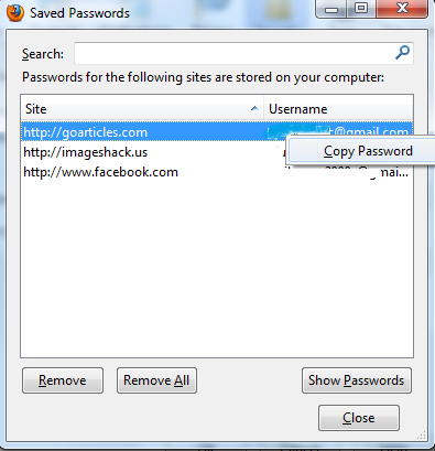 how to copy password from firefox