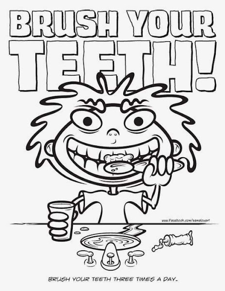 Brushing Teeth Free Coloring Pages
