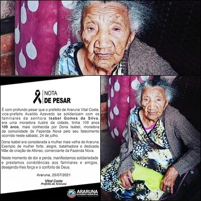 Morre aos 109 anos a mulher mais velha de Araruna
