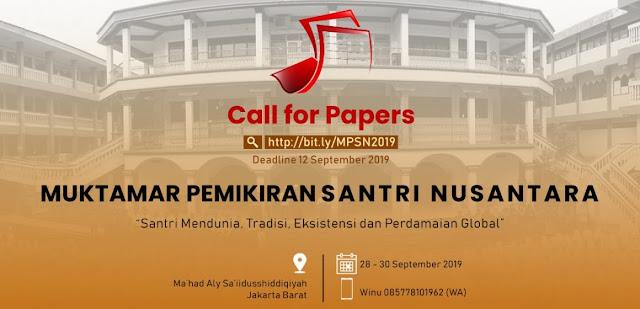 Call For Papers Muktamar Pemikiran Santri Nusantara 2019