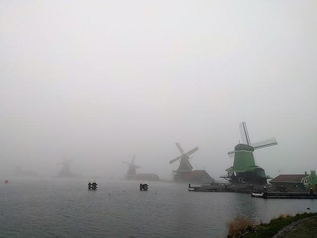 Zaanse Schans windmills during a foggy day