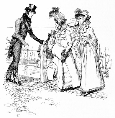 A gentleman politely drew back Persuasion Hugh Thompson 1897