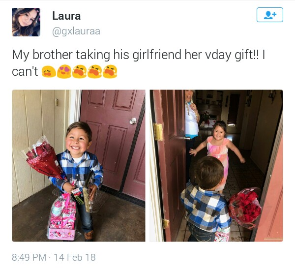 Photos: So cute! Little boy takes Valentine presents to his