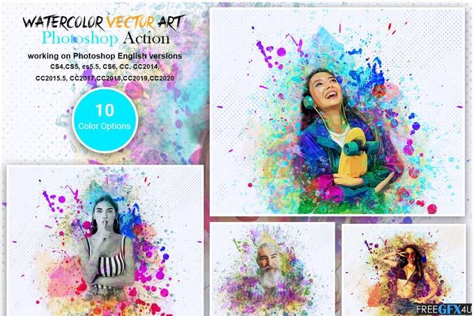 Watercolor Vector Art PS Action