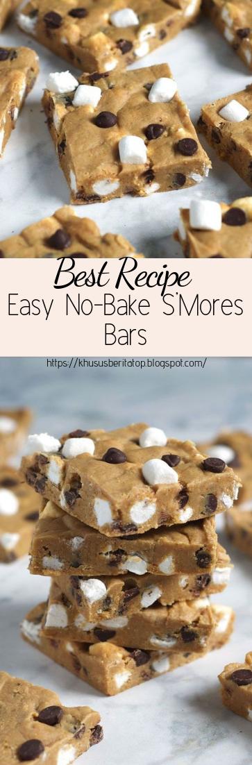 Easy No-Bake S'Mores Bars #desserts #cakerecipe #chocolate