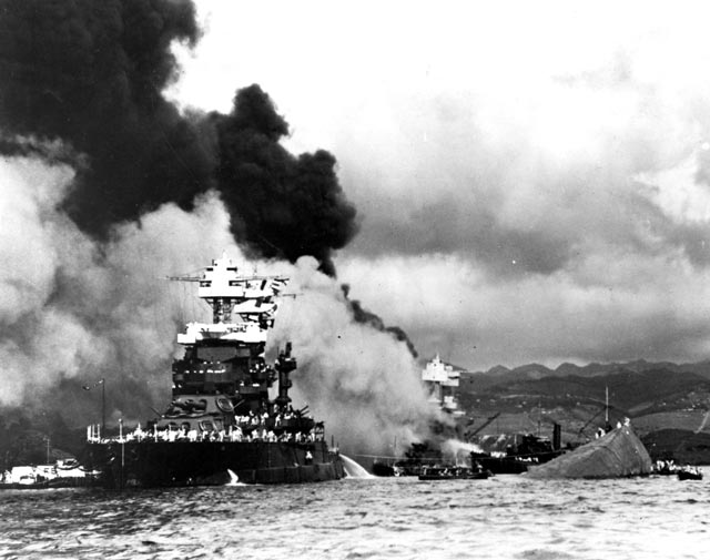 Battleships sinking at Pearl Harbor worldwartwo.filminspector.com
