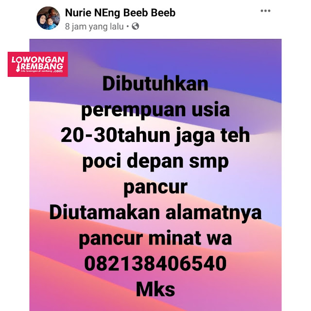 Lowongan Kerja Karyawati Teh Poci Depan SMP Pancur Rembang