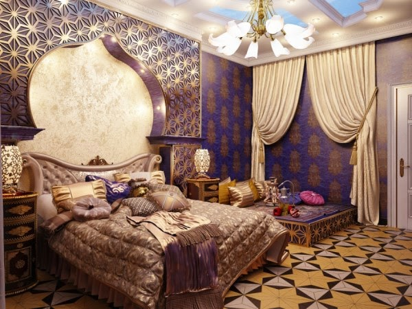 In Arabic Bedrooms Designing They Also Used The Stylish Bed With Beautiful Curtains And Attractive Design Of Wall Ceilings Interior