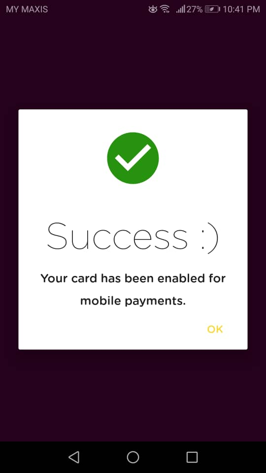 Enable AEON Card Success