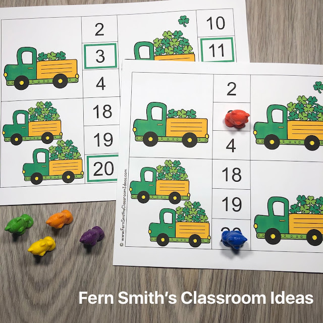 St. Patrick's Day Counting Clip Cards #FernSmithsClassroomIdeas
