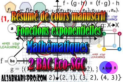 Résumé de cours manuscrit Fonctions exponentielles,  Mathématiques, 2 Bac Sciences Économiques, 2 Bac Sciences de Gestion Comptable, Suites numériques, Limites et continuité, Dérivation et étude des fonctions, Fonctions logarithmiques, Fonctions exponentielles, Fonctions primitives et calcul intégral, Dénombrement et probabilités, Examens Nationaux Mathématiques, 2 bac, Examen National, baccalauréat, bac maroc, BAC, 2 éme Bac, Exercices, Cours, devoirs, examen nationaux, exercice, 2ème Baccalauréat, prof de soutien scolaire a domicile, cours gratuit, cours gratuit en ligne, cours particuliers, cours à domicile, soutien scolaire à domicile, les cours particuliers, cours de soutien, les cours de soutien, cours online, cour online.